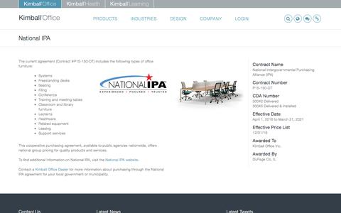 Screenshot of kimballoffice.com - National IPA - Kimball Office - captured April 1, 2017