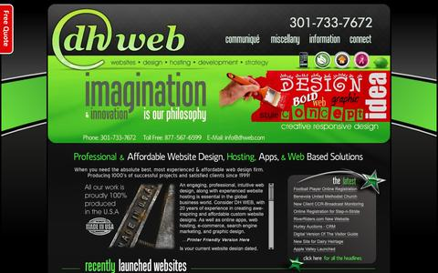 Screenshot of Home Page dhwebsites.com - DH WEB - Website Design and Hosting Hagerstown Maryland - captured Oct. 3, 2018