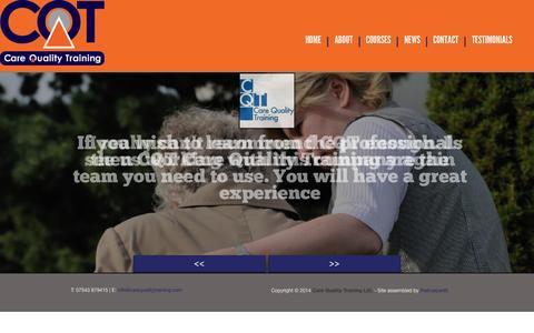 Screenshot of Testimonials Page carequalitytraining.com - CQT Care Quality Training Testimonials for CQT Care Quality Training - captured Oct. 1, 2014
