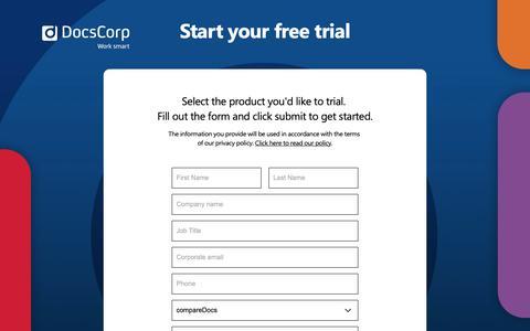 Screenshot of Trial Page docscorp.com - DocsCorp Work Smart - captured Nov. 6, 2018