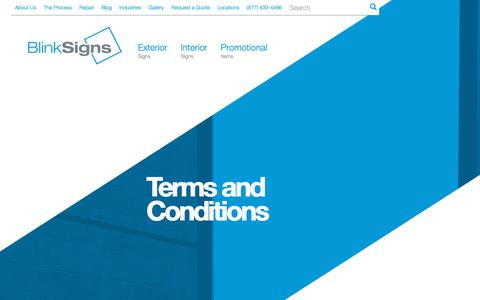 Screenshot of Terms Page blinksigns.com - Terms and Conditions  | Blink Signs - captured Oct. 6, 2018