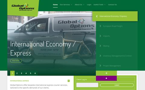 Screenshot of Home Page goms.co.uk - Global Options / Courier Services - captured Feb. 16, 2018