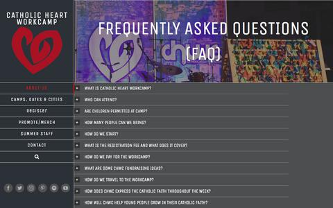 Screenshot of FAQ Page heartworkcamp.com - Frequently Asked Questions (FAQ) - Catholic HEART Workcamp - captured Sept. 25, 2018
