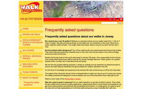 Screenshot of FAQ Page jerseywalkadventures.co.uk - Walking in Jersey.Frequent questions | Jersey Walk Adventures - captured Sept. 30, 2014
