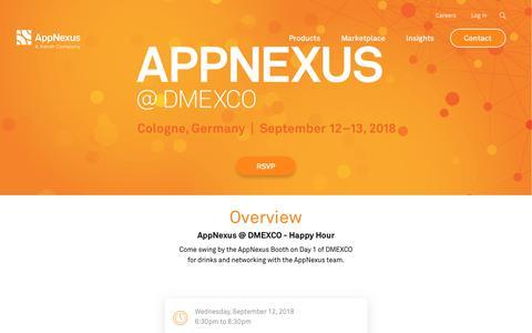 Screenshot of Testimonials Page appnexus.com - AppNexus at DMEXCO 2018 - Happy Hour | AppNexus - captured Nov. 18, 2019