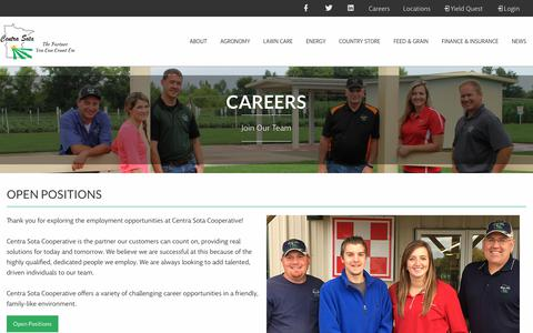 Screenshot of Jobs Page centrasota.com - Careers - Centra Sota Coop - captured Sept. 29, 2018