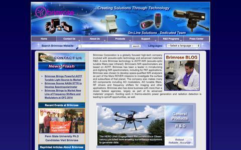Screenshot of Home Page brimrose.com - Brimrose: Creating Solutions Through Technology - captured Oct. 5, 2014