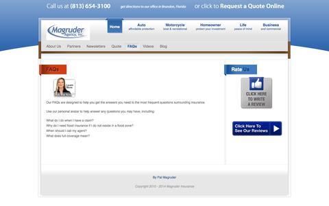 Screenshot of FAQ Page magruderagency.com - FAQs - captured Oct. 2, 2014