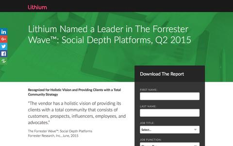 "Screenshot of Landing Page lithium.com - Lithium Named a Leader in Forrester Waveâ""¢: Social Depth Platforms, Q2 2015 - captured Aug. 19, 2016"