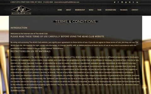 Screenshot of Terms Page the4040club.com - The 40/40 Club | Terms and Conditions - captured Sept. 19, 2014