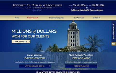 Screenshot of Home Page poplawyer.com - Jeffrey S. Pop & Associates | California Catastrophic Injury Attorney - captured Oct. 4, 2014