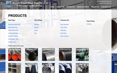 Screenshot of Products Page steellinepipe.com - China PRODUCTS factory & supplier & manufacturer  Hunan Great Steel Pipe Co.,Ltd - captured Feb. 2, 2016