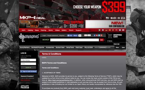 Screenshot of Terms Page rap4.com - Terms & Conditions RAP4.com Catalog - captured Oct. 26, 2014