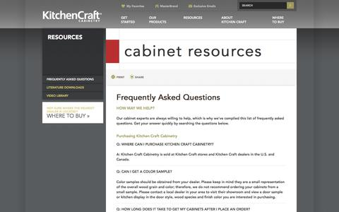 Screenshot of FAQ Page kitchencraft.com - FAQs – Frequently Asked Questions about Cabinets – KitchenCraft.com - captured Aug. 9, 2016