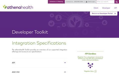 Integration Standards | Developer Portal | athenahealth