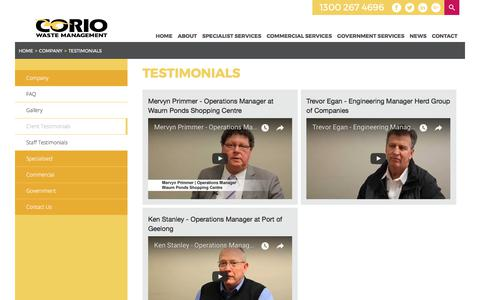 Screenshot of Testimonials Page coriowm.com.au - Testimonials | Corio Waste Management - captured Aug. 26, 2017