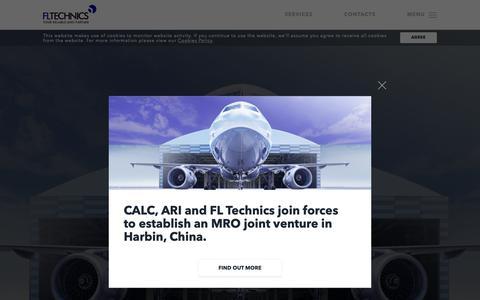 Screenshot of Home Page fltechnics.com - FL Technics | Aircraft Maintenance and Repair Services – Aviation MRO | FL Technics - captured Nov. 14, 2018