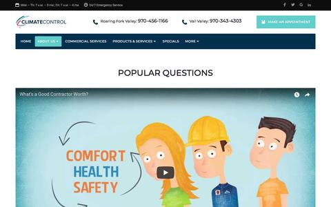 Screenshot of FAQ Page climatecontrolcompany.com - Frequently Asked Questions | Climate Control Company - captured July 19, 2018