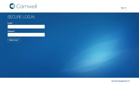 Screenshot of Login Page camwell.com - Secure log in | Camwell Management LLP - captured Oct. 1, 2014