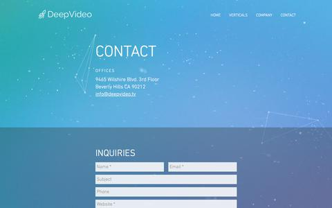 Screenshot of Contact Page deepvideo.tv - AI Video Intelligence | DeepVideo - captured July 8, 2018