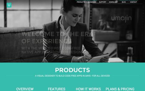 Screenshot of Home Page umajin.com - Umajin - The App Creator for Designers - captured Oct. 1, 2014