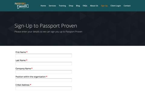 Screenshot of Signup Page passportproven.co.uk - Sign-Up | Passport Proven - captured July 11, 2016