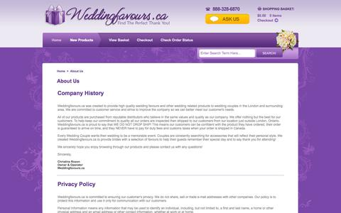 Screenshot of Contact Page Maps & Directions Page weddingfavours.ca - Weddingfavours.ca: About Us - captured Oct. 25, 2014