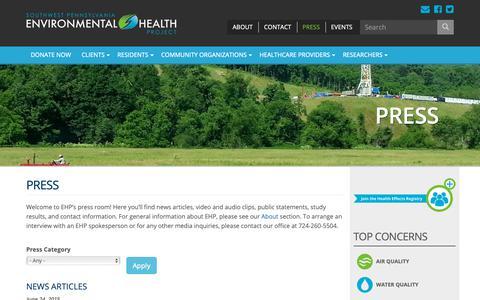 Screenshot of Press Page environmentalhealthproject.org - Press   Environmental Health Project - captured Dec. 21, 2018