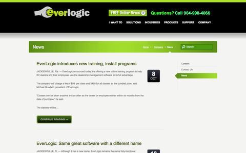 Screenshot of Press Page everlogic.com - Dealer Software | Quickbooks Inventory Software | News - captured Sept. 30, 2014