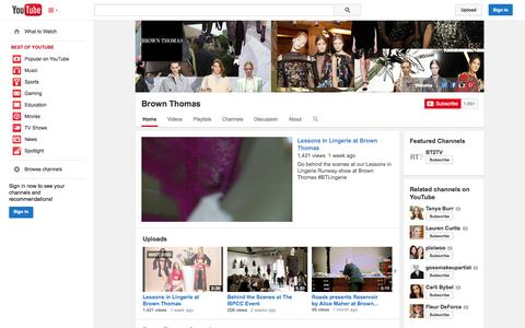 Screenshot of YouTube Page youtube.com - Brown Thomas  - YouTube - captured Oct. 23, 2014