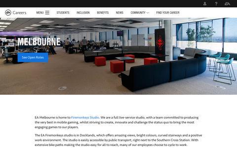 Screenshot of Jobs Page ea.com - Careers at EA's Melbourne Studio - An Official EA Site - captured Nov. 14, 2018