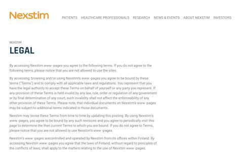 Screenshot of Terms Page nexstim.com - Nexstim - Legal - captured Oct. 19, 2018