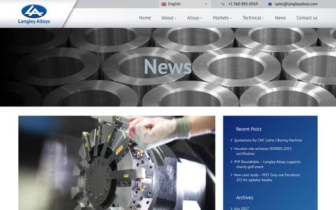 Screenshot of Press Page langleyalloys.com - Langley Alloy Inc - Quotations for CNC Lathe / Boring Machine - captured July 15, 2017