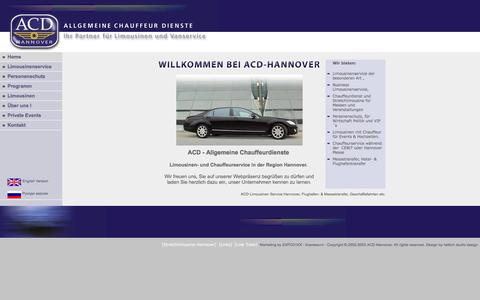 Screenshot of Home Page acd-hannover.de - ACD Limousinenservice Hannover, Limousine mit Chauffeur/Fahrer, Chauffeurdienst - captured June 5, 2016