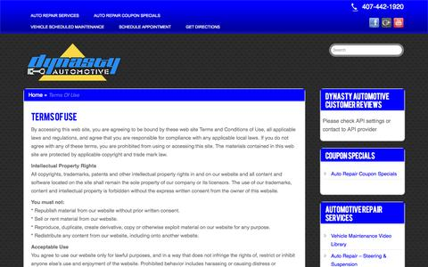 Screenshot of Terms Page affordableautorepairorlando.com - Terms Of Use | Affordable Auto Repair In Orlando - captured Oct. 30, 2014