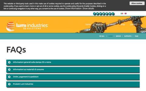 Screenshot of FAQ Page lumi.industries - FAQs - captured Nov. 25, 2017