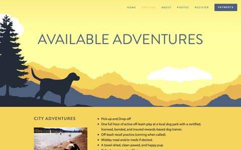 Screenshot of Services Page dogadventuresnw.com - Services — Dog Adventures Northwest - captured Oct. 12, 2017