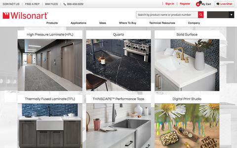 Screenshot of Home Page wilsonart.com - Home page - captured Feb. 17, 2020
