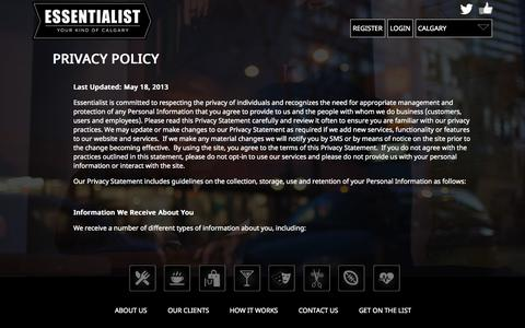 Screenshot of Privacy Page essentialist.ca - Privacy Policy   Essentialist - captured Sept. 30, 2014