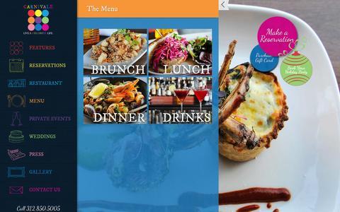 Screenshot of Menu Page carnivalechicago.com - Carnivale Chicago Menus - Brunch, Lunch, Dinner, Drinks - captured Oct. 22, 2014
