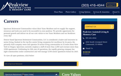 Screenshot of Jobs Page spectrumretirement.com - Careers At Peakview Assisted Living & Memory Care - captured Jan. 15, 2017