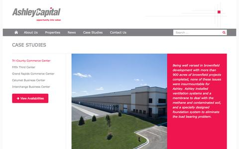 Screenshot of Case Studies Page ashleycapital.com - Tri-County Commerce Center  | Ashley Capital - captured July 30, 2018