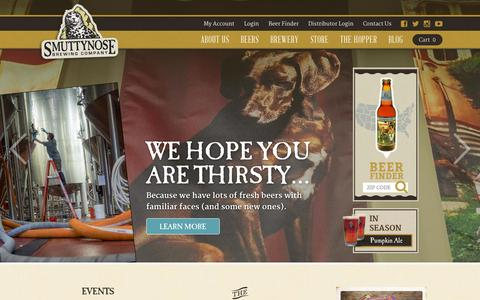 Screenshot of Home Page smuttynose.com - Smuttynose Brewing Company | Brewing Fine Beers in NH Since 1994 - captured Oct. 7, 2014