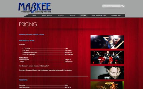 Screenshot of Pricing Page markeemusic.com - Markee Rehearsal and Recording Palm Beach, Dade Broward Florida - captured Oct. 27, 2014
