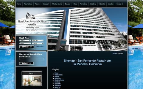 Screenshot of Site Map Page hotelsfp.com - Sitemap - Colombia Hotels | Medellin Hotels | San Fernando Plaza Hotel - captured April 7, 2016