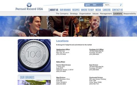Screenshot of Locations Page pernod-ricard-usa.com - About us - captured Sept. 29, 2014