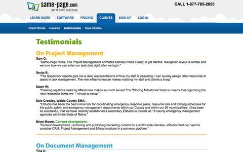 Screenshot of Testimonials Page same-page.com - Testimonials for Calendar Online Project and Document Management Software | Same-Page.com - captured Feb. 4, 2016
