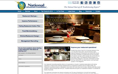 Screenshot of Home Page restaurantconsulting.us - National Restaurant Consultants | Restaurant Consulting - captured Oct. 6, 2014