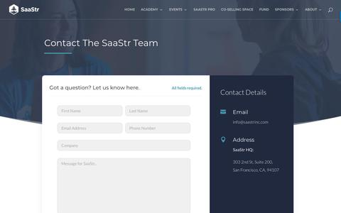 Screenshot of Contact Page saastr.com - Get in touch with SaaStr | SaaStr - captured June 7, 2018