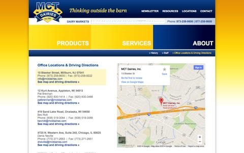 Screenshot of Locations Page mctdairies.com - Office Locations & Driving Directions | MCT Dairies » About - captured Oct. 4, 2014